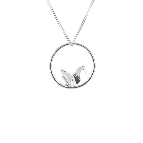 Sterling Silver Swan Circle Origami Necklace