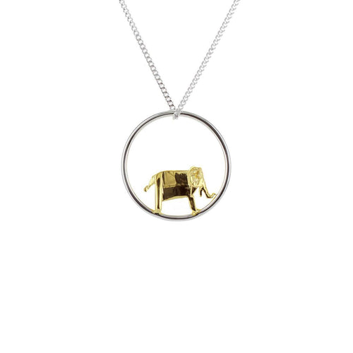 Sterling Silver & Gold Elephant Circle Origami Necklace