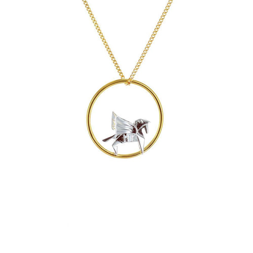 Gold & Sterling Silver Pegaze Circle Origami Necklace