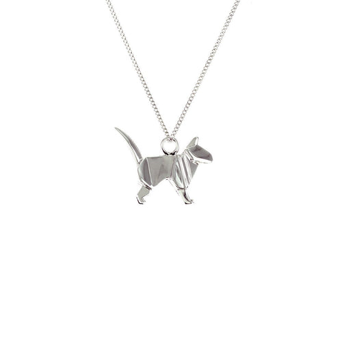Sterling Silver Mini Cat Origami Necklace