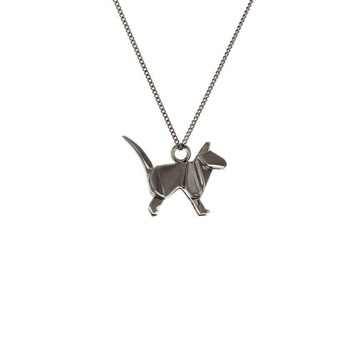 Black Silver Mini Cat Origami Necklace