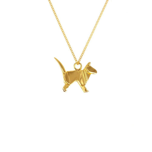 Sterling Silver & Gold Mini Cat Origami Necklace