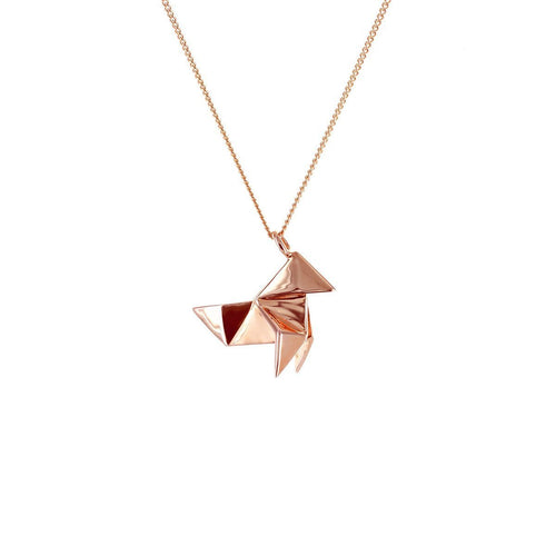 Sterling Silver & Pink Gold Mini Cuckoo Origami Necklace