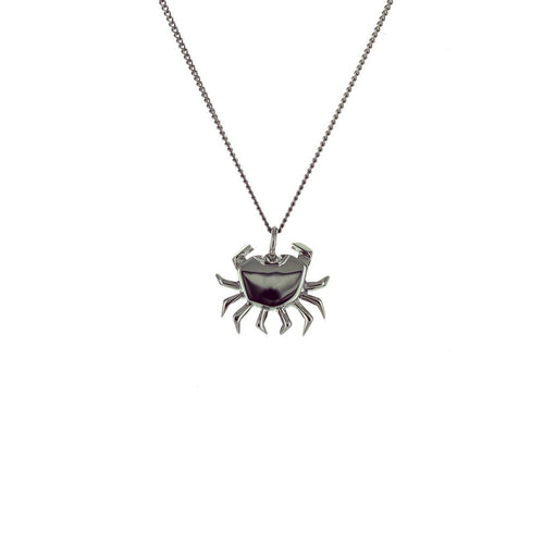 Black Silver Mini Crab Origami Necklace