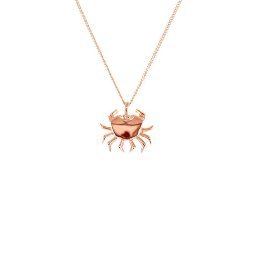 Sterling Silver & Pink Gold Mini Crab Origami Necklace