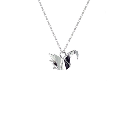 Sterling Silver Mini Swan Origami Necklace