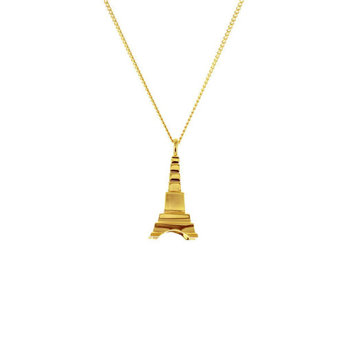 Sterling Silver & Gold Mini Eiffel Tower Origami Necklace