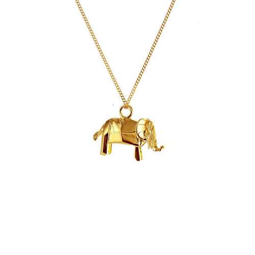 Sterling Silver & Gold Mini Elephant Origami Necklace
