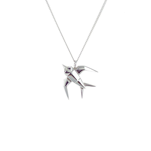 Sterling Silver Mini Swallow Origami Necklace