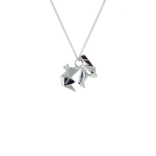 Sterling Silver Mini Rabbit Origami Necklace