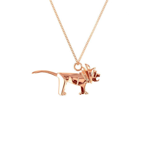 Sterling Silver & Pink Gold Mini Lion Origami Necklace