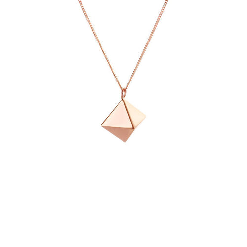 Sterling Silver & Pink Gold Mini Octagem Origami Necklace