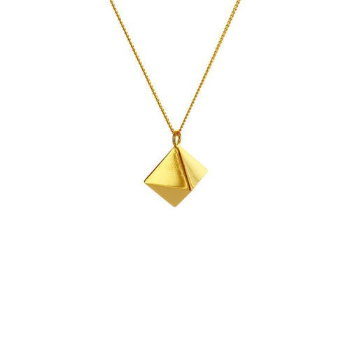 Sterling Silver & Gold Mini Octagem Origami Necklace