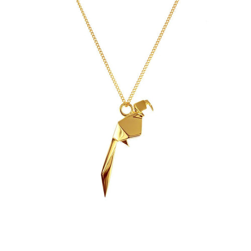 Sterling Silver & Gold Mini Parrot Origami Necklace