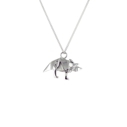 Sterling Silver Mini Triceratop Origami Necklace