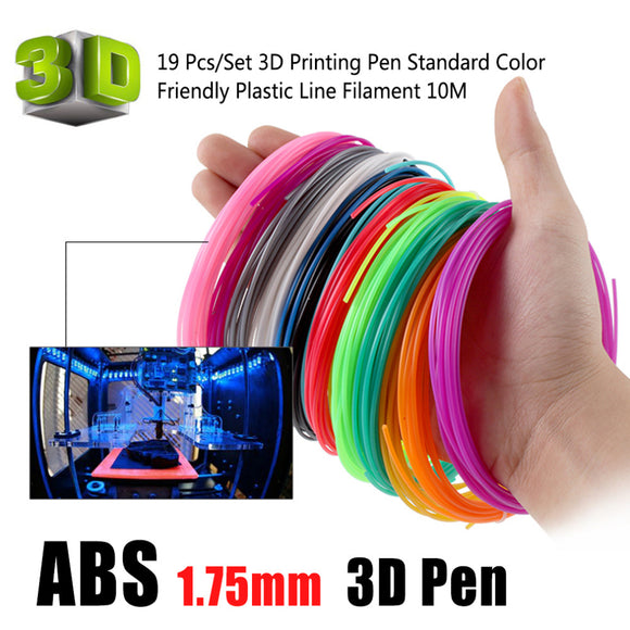 19 Pcs/Set 3D Printing Pen ABS Supplies Standard Color Environmentally Friendly Plastic Line Filament 10M