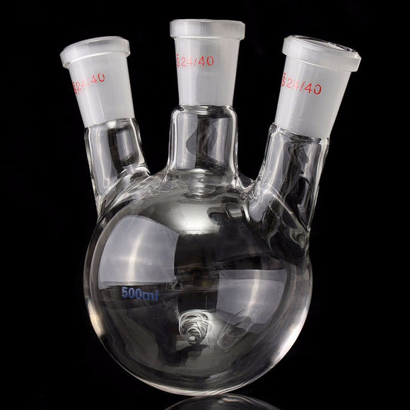 Best Price 24/40 500ml Round Bottom 3 Neck Lab Glass Flask For Experiment Laboratary Science Test Container Gas Column Packing