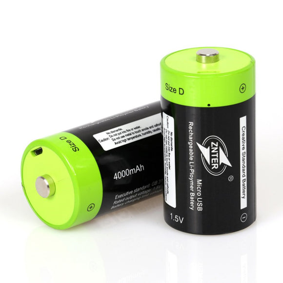 ZNTER High Quality 1pcs 2pcs 1.5V 4000mAh USB Rechargeable D Battery Lithium Polymer for Camera Drone Accessories  Wholesale