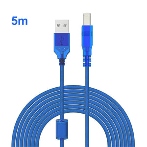 USB 2.0 Extension Cable USB2.0 Printer Cables A To B Male Sync Data Scanner Cabo With Magntic Ring For Canon Epson HP Printer 5m