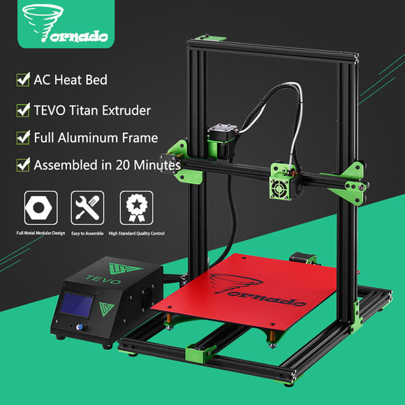 2017 High Quality TEVO Tornado DIY 3D Printer Kit 300*300*400mm Large Printing Size 1.75mm 0.4mm Nozzle Support Off-line Print