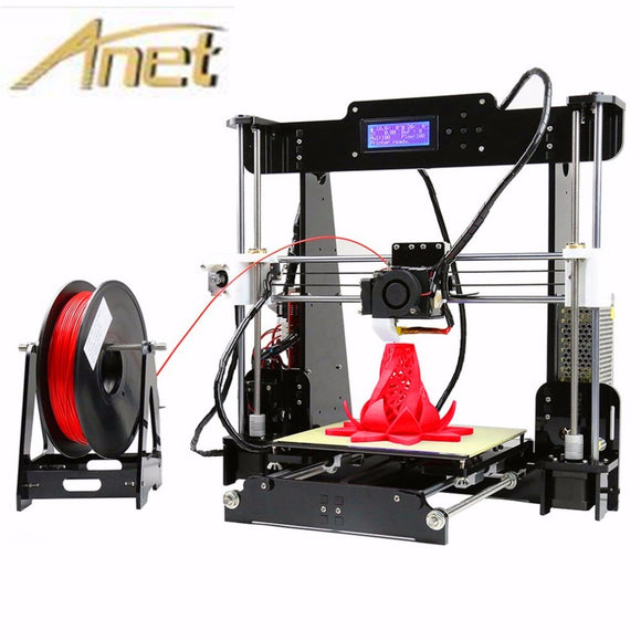 Anet A6 A8 Full Acrylic Frame 3D Color Printing Printer DIY Kit Filament SD Card LCD Screen Display Reprap Prusa i3 +16GB Card