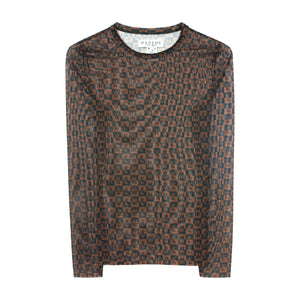 Checkered Logo Mesh Long Sleeve Top