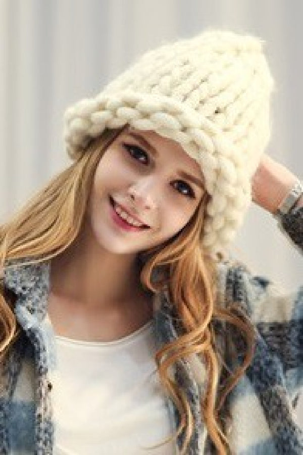 Winter White Loose Knit Beanie - Embellish Your Life