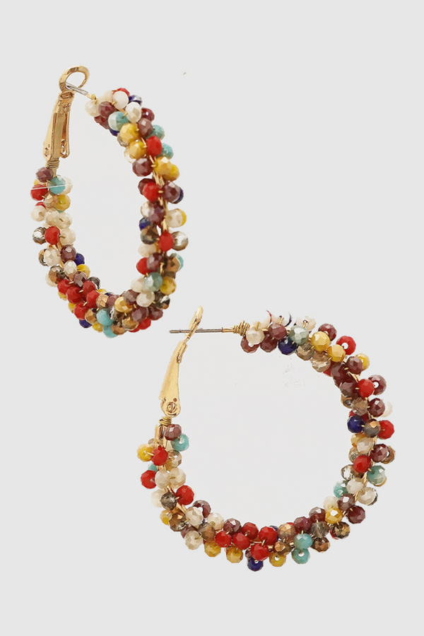 Colorful Bead Hoop Earrings - Embellish Your Life