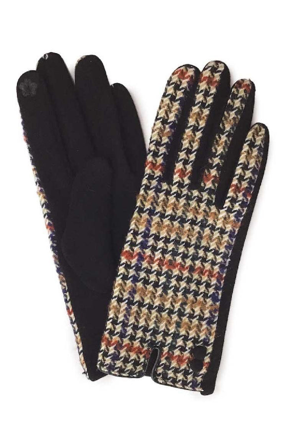 Earth-Tone Houndstooth Gloves