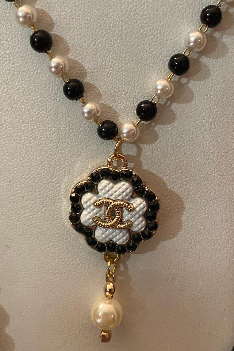 Vintage Chanel Black and White Necklace - Embellish Your Life