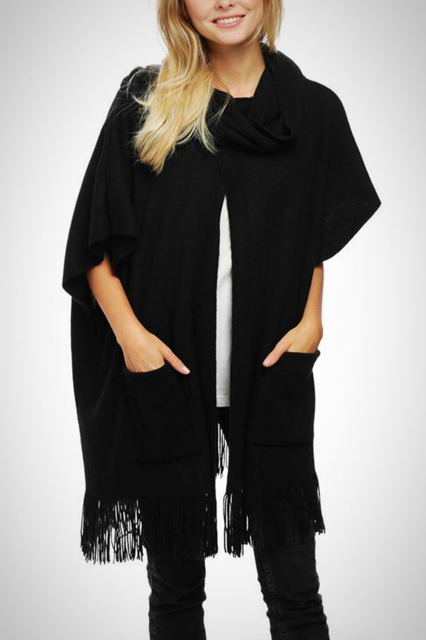 Cowl Neck Black Poncho