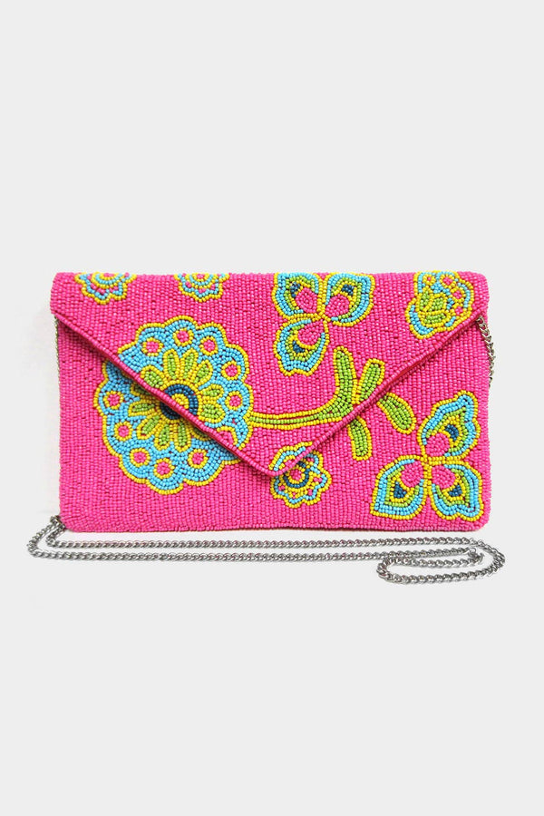 Floral Beaded Clutch Bag