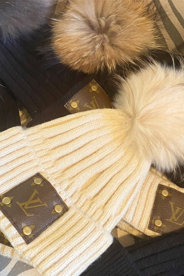 Up-Cycled Louis Vuitton Fur Pom Beanie - Embellish Your Life