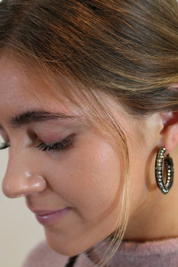 Antique Hoop Sparkle Earrings - Embellish Your Life
