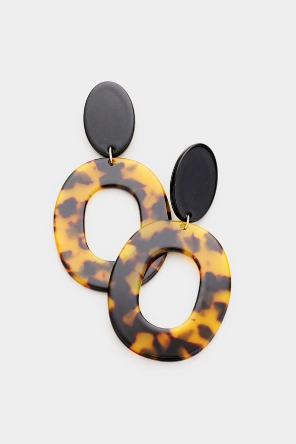 Tortoise Open Oval Earrings - Embellish Your Life