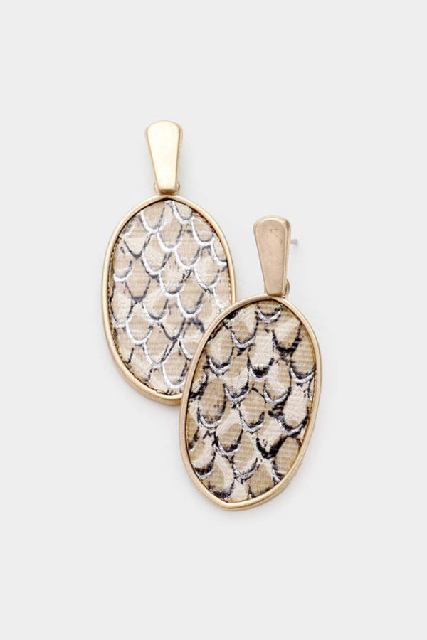 Snakeskin Oval Earrings - Embellish Your Life