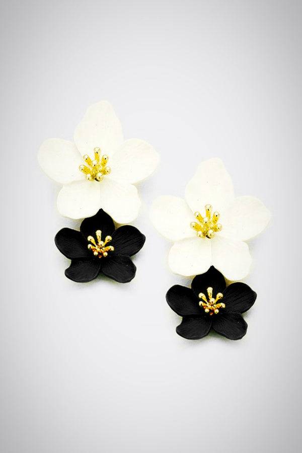 Double Time Flower Earrings - Embellish Your Life