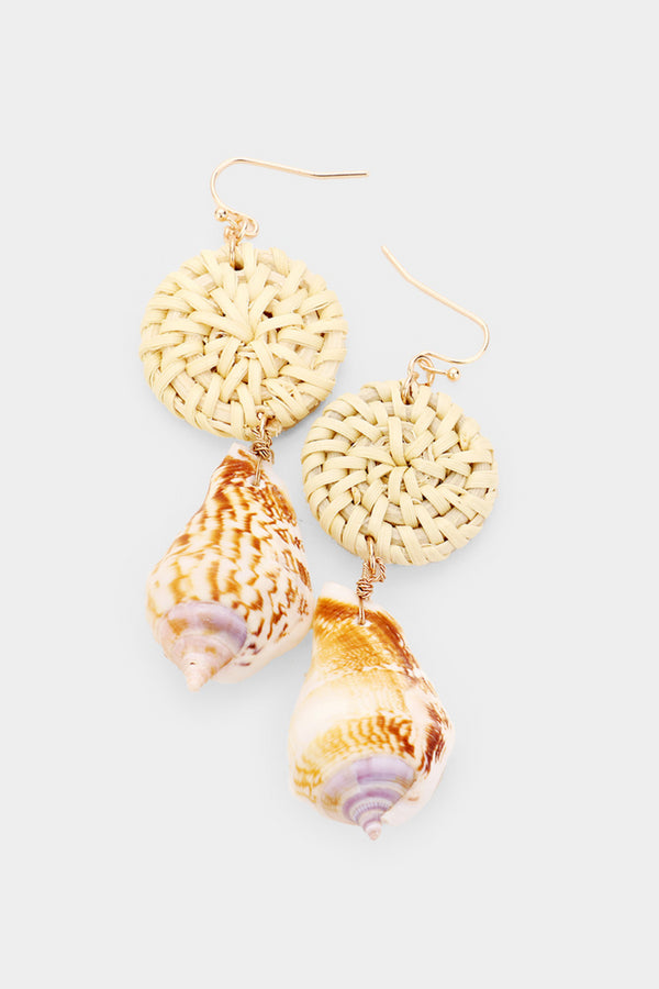 Straw Conch Shell Earrings