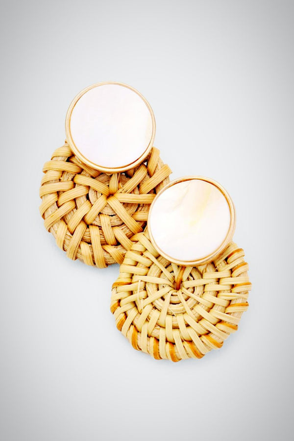 Shell and Straw Earrings