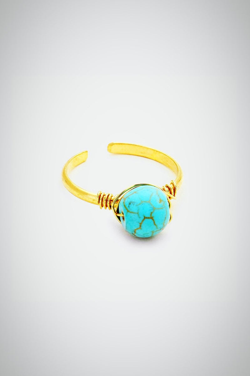 Turquoise Blue Bead Ring