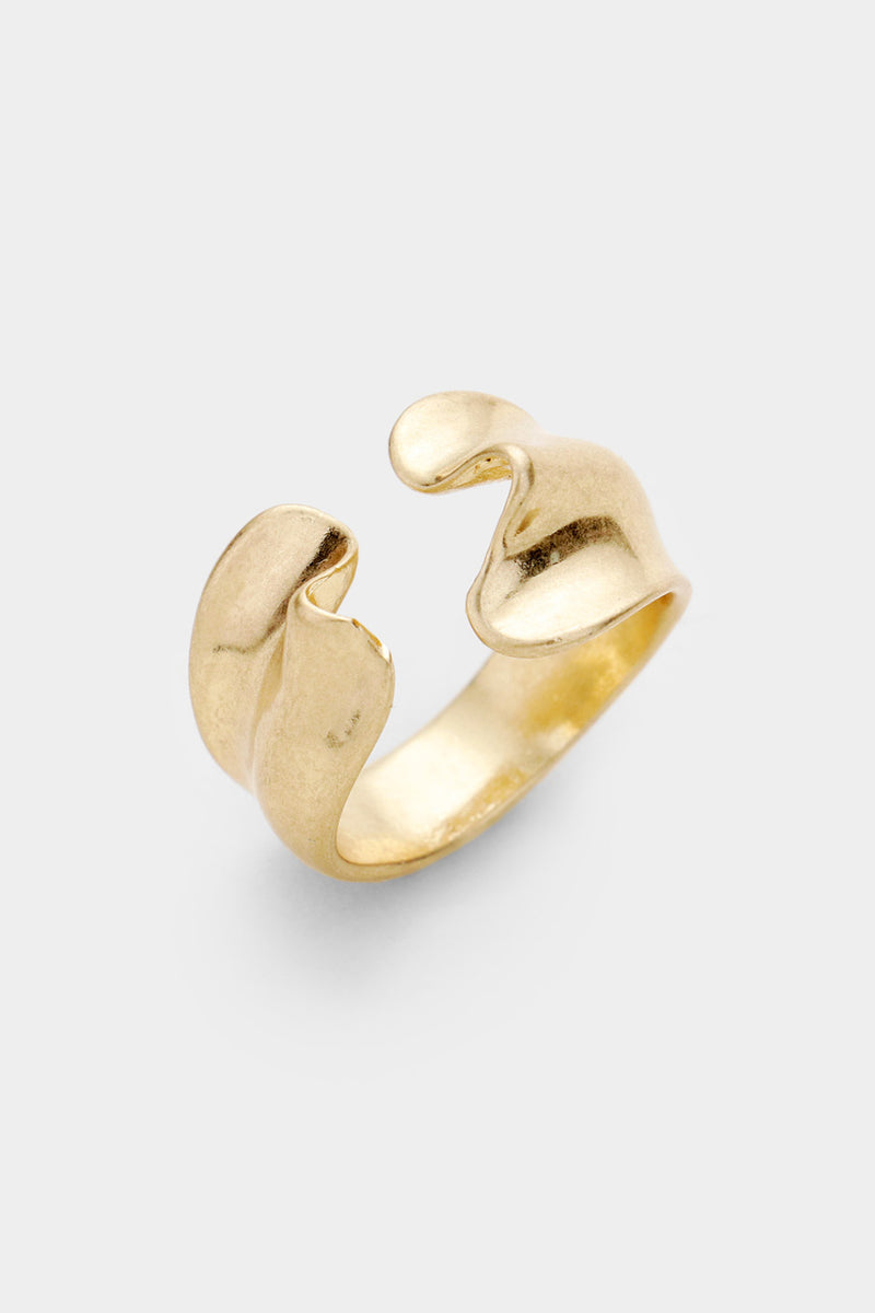 Gold Wave Adjustable Ring
