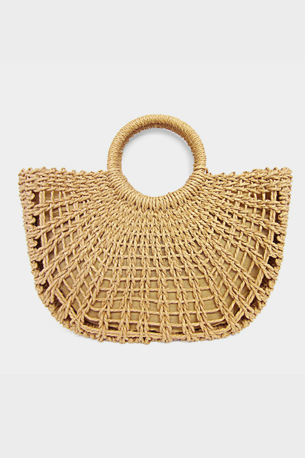 Straw Round Handled Tote Bag