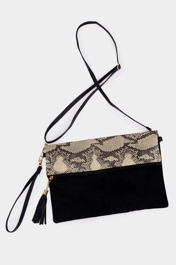 Snake Skin Fold-Over 3-In-1 Bag