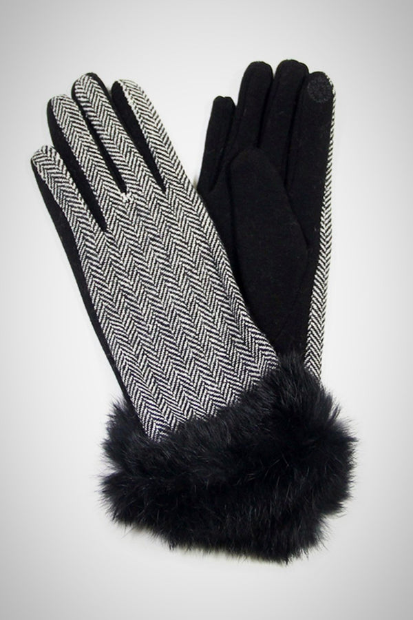 Herringbone Fur Smart Gloves - Embellish Your Life