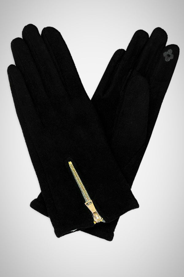 Faux Suede Zippered Smart Gloves