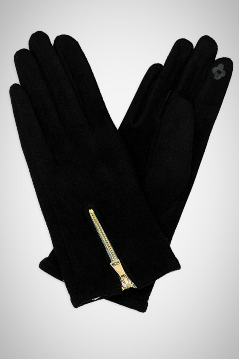 Faux Suede Zippered Smart Gloves - Embellish Your Life