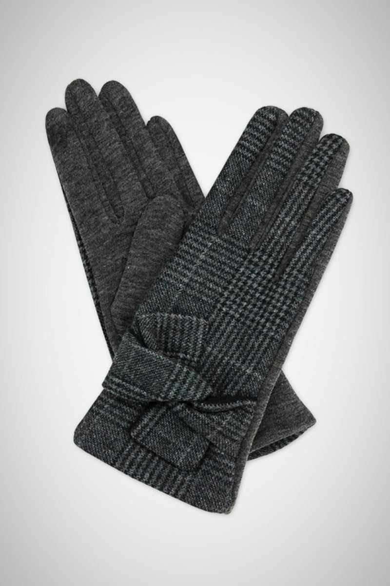 Plaid Bow Smart Gloves