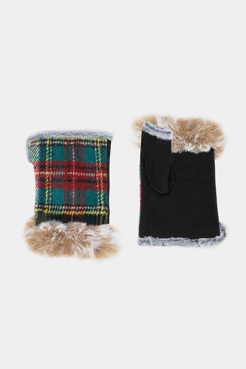 Plaid Fingerless Gloves
