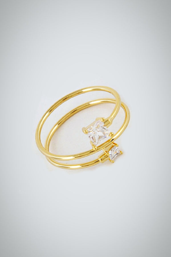 Gold Clear Square Tip Ring