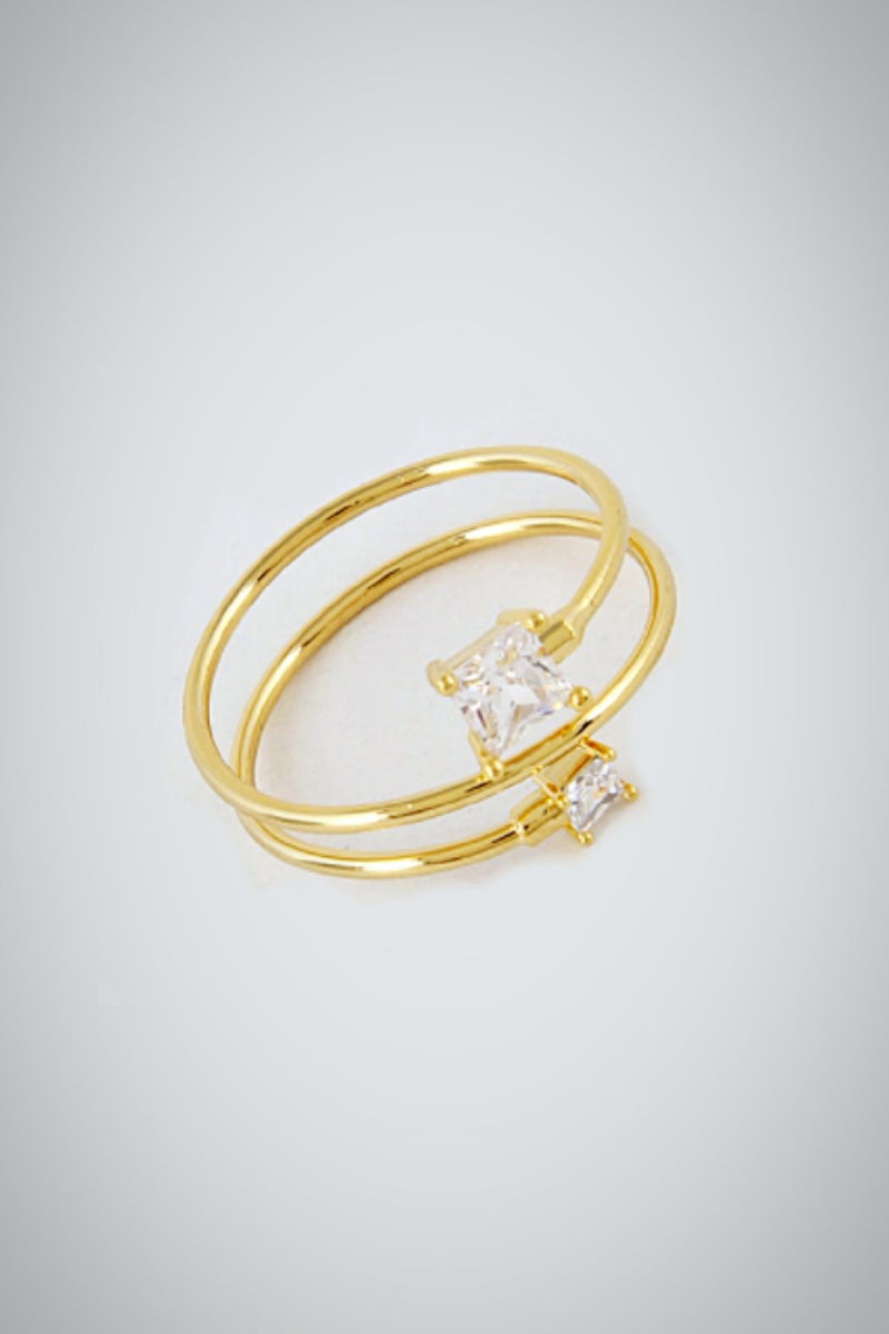 Gold Clear Square Tip Ring - Embellish Your Life